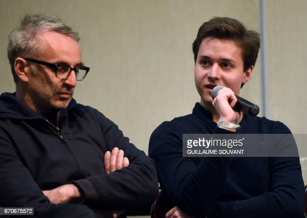 French singers Vincent Delerm and Tim Dup take part in a press conference regarding a tribute to Barbara at the 41th edition of 'Le Printemps de...