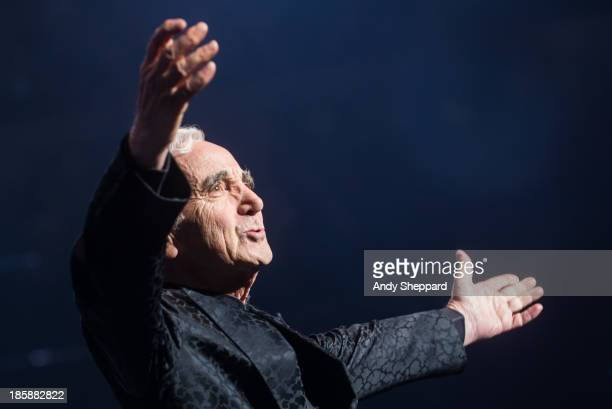 French singersongwriter Charles Aznavour performs on stage at Royal Albert Hall on October 25 2013 in London England