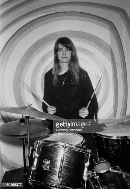 French singer-songwriter Françoise Hardy at the drums with drumsticks, UK, 24th June 1970.