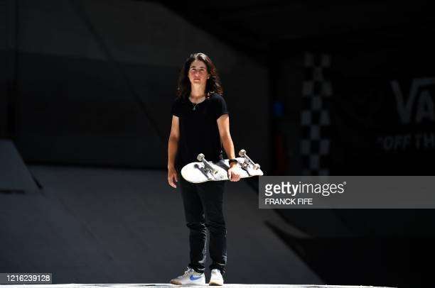 French skateboarder street category Charlotte Hym poses for a photograph before begining her training for her qualifications for the Olympics Games...