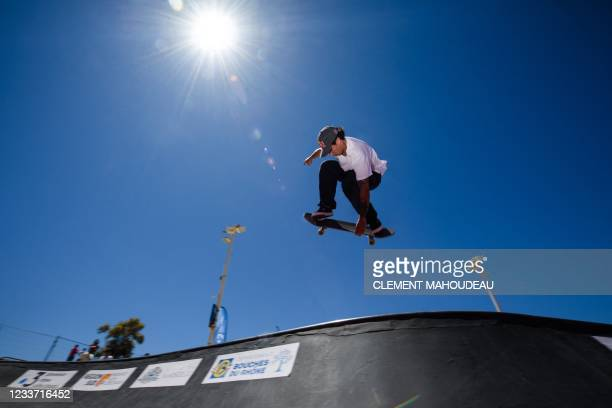 French skateboarder Vincent Matheron trains for the Tokyo Olympic Games at the Bowl du Prado skatepark in Marseille on June 24, 2021. - After being...