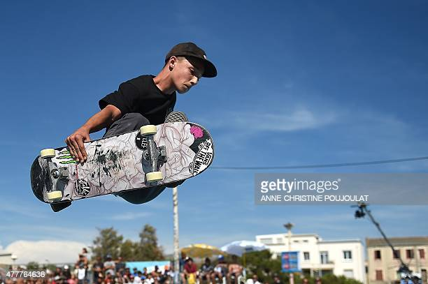 French skater Robin Bolian takes part in qualifying rounds of the French stage of the World Cup Skateboarding ISU during the Sosh Freestyle Cup June...