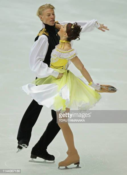 French skaters Isabelle Delobel and Olivier Schoenfelder perform during an original dance event in ice dancing in the NHK Trophy figure skating...
