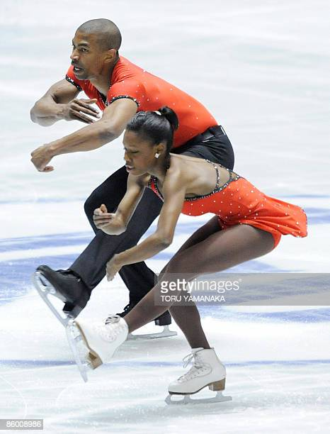 French skaters Vanessa James and Yannick Bonheur perform during the short program of pair event at the World Team Trophy figure skating in Tokyo on...