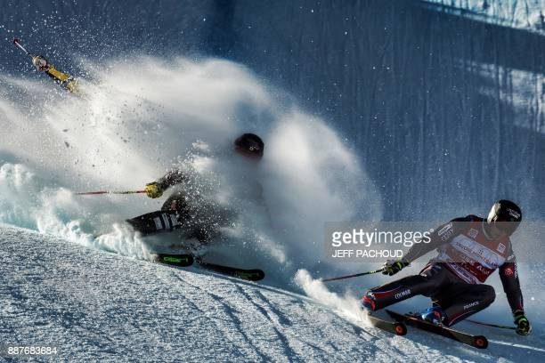 TOPSHOT French skier Francois Place competes in the FIS Men Ski Cross World Cup small final on December 7 2017 at the ValThorens ski resort in the...