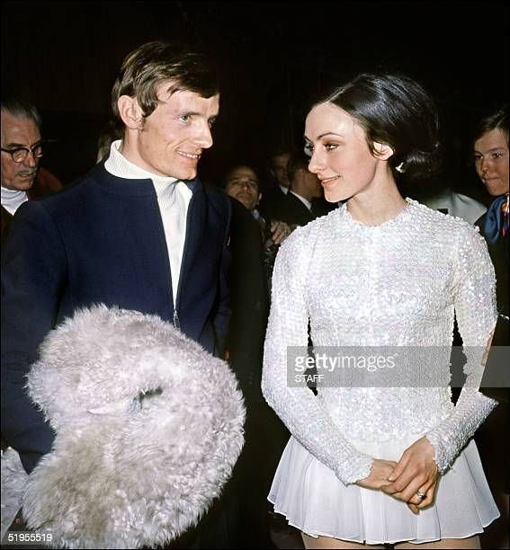 French skier JeanClaude Killy chats with American ice skater Peggy Fleming 18 February 1968 in Grenoble during the last day of the Winter Olympic...