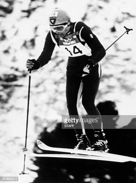 French skier JeanClaude Killy is airborne during the men's downhill 09 February 1968 in Chamrousse near Grenoble during the Winter Olympic Games...
