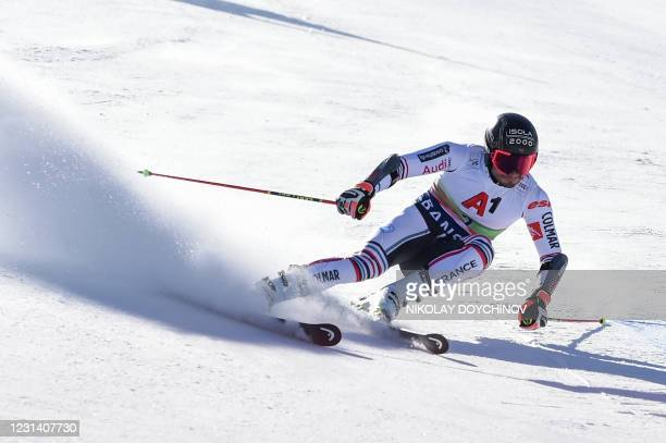 French skier Mathieu Faivre competes in the first run of the men's giant slalom event at the FIS Alpine Ski World Cup in Bansko on February 27, 2021.