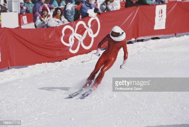 French skier Michael Prufer sets a new world record to win the speed skiing demonstration event held at Les Arcs during the 1992 Winter Olympics in...