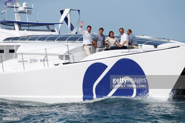 French skipper and project founder Victorien Erussard the director of the French Alternative Energies and Atomic Energy Commission Florence Lambert...