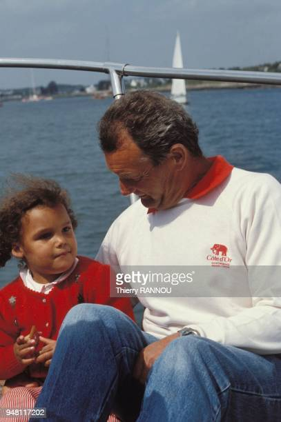 French skipper Eric Tabarly and his daughter Marie aboard the Cote dor II