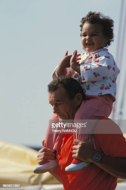 "French skipper Eric Tabarly and his daughter Marie aboard the ""Cote d?or II""."