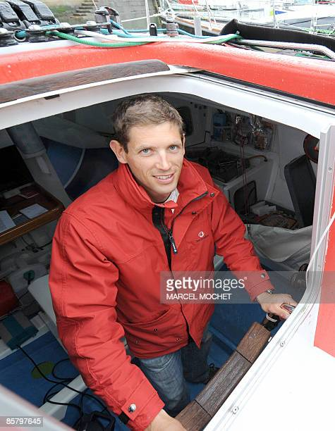 "French skipper Erwan Tabarly poses in his monohull ""Athema"" on April 4, 2009 at Le Palais harbour in Belle-Ile-en-Mer island, western France. He will..."