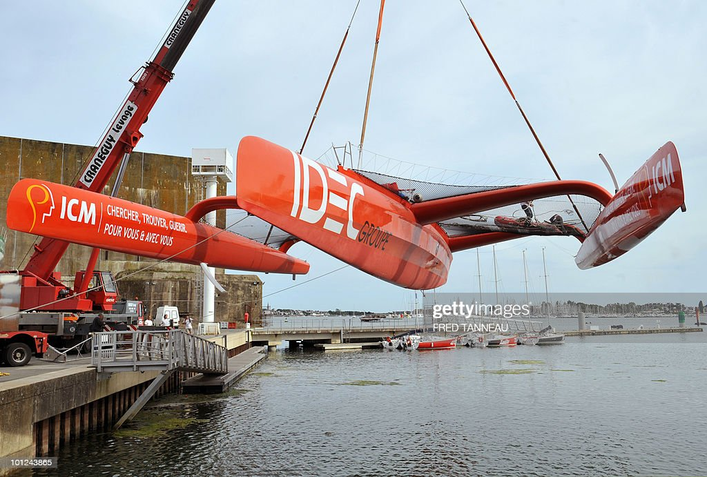French skipper Francis Joyon's maxi-trimaran 'IDEC' is launched on May 28, 2010 in Lorient, western France. Joyon will take part in the 'Route du Rhum' solo sailing race between Saint-Malo in western France and Pointe-à-Pitre in the French west indies Guadeloupe department. The race will start on october 21, 2010.