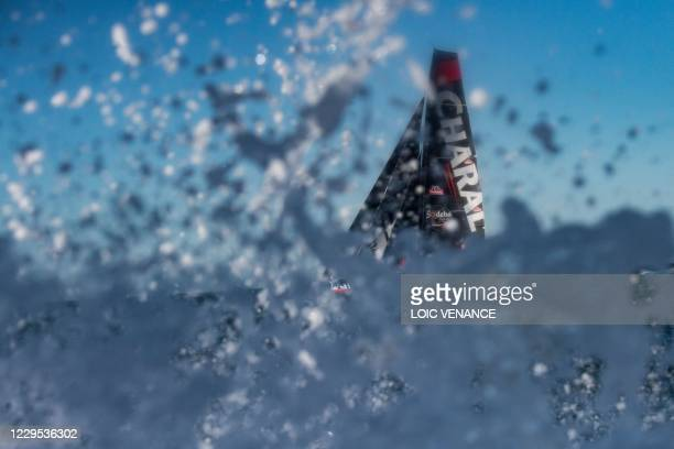 French skipper Jeremie Beyou sails his Imoca 60 Charal after the start of the Vendee Globe around the world monohull solo sailing race off Les...