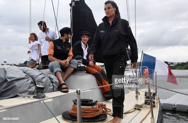 "French skipper Marie Tabarly looks on, on the deck of the Pen-Duick VI before the start of his sailing project ""Elemen'Terre project"" in Lorient,..."