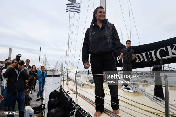 French skipper Marie Tabarly poses on the deck of the PenDuick VI before the start of her sailing project Elemen'Terre project in Lorient western...