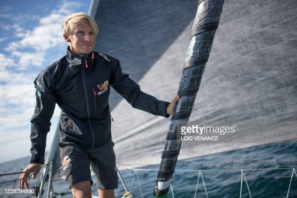 French skipper Maxime Sorel sails his Imoca 60 monohull 'V&B - Mayenne', on August 31 off Concarneau, western France, a few weeks prior to take the...