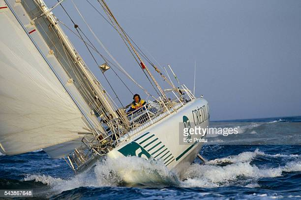French skipper of Credit Agricole III Philippe Jeantot heads to the finish line to win the BOC Challenge solitary Round the World yacht race Jeantot...