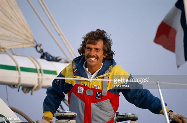 French skipper of Credit Agricole III Philippe Jeantot wins the BOC Challenge solitary Round the World yacht race Jeantot a former deep sea diver...
