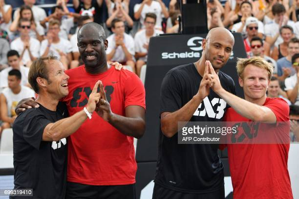 French skipper Thomas Coville former French Taekwondo Olympic champion Pascal Gentil French basketball player Karim Souchu and French skipper...