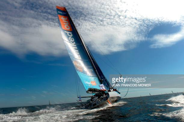 """French skipper Thomas Ruyant sails on his Imoca 60 monohull LinkedOut during the """"Azimut trophy"""", off the coast Lorient, western France, on September..."""