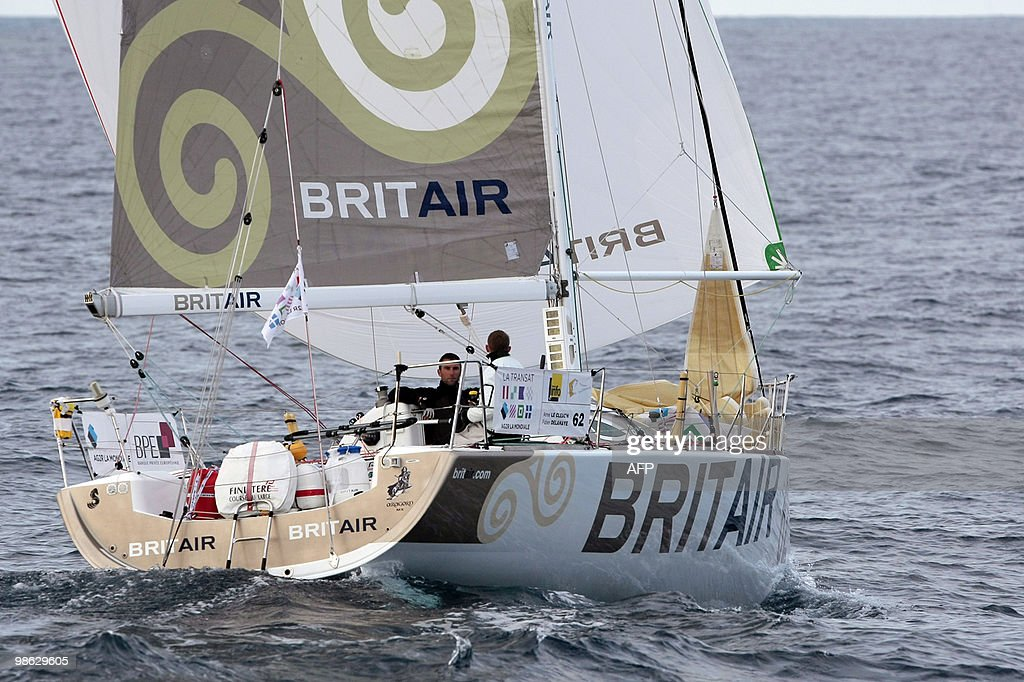 French skippers Armel Le Cleac'h and Fabien Delahaye sail off on their 'Brit Air' monohull on April 23, 2010, during the AG2R LA MONDIALE sailing race between Concarneau and Saint-Barthelemy (French west indies). 25 boats started from Concarneau on April 18.