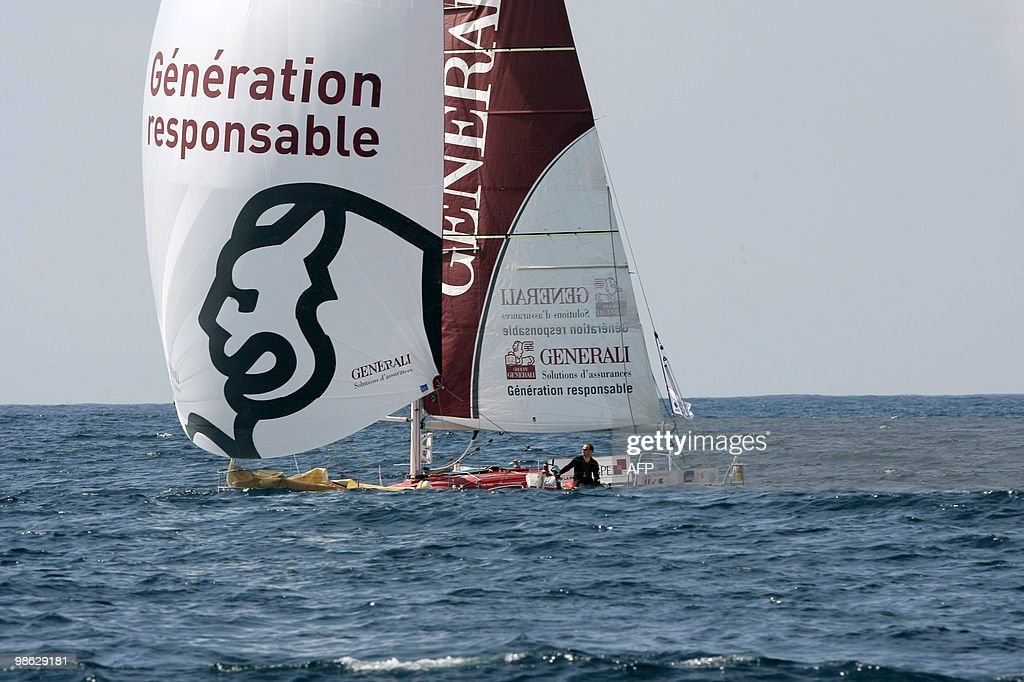 French skippers Yann Elies and Jeremie Beyou sail off on their 'Generali - Europ Assistance' monohull on April 22, 2010, during the AG2R La Mondiale sailing race between Concarneau and Saint-Barthelemy (French west indies). 25 boats started from Concarneau on April 18.