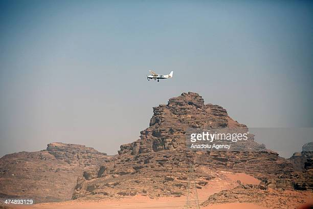 French sky diving athletes from the Paradrenaline France the biggest centre for Sky Diving in Europe jump over the desert of Wadi Rum also known as...