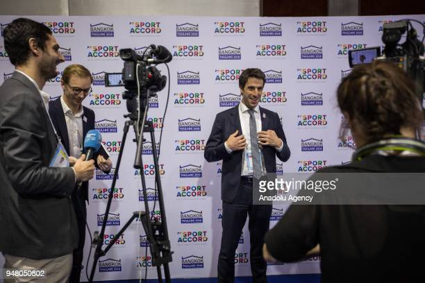 French slalom canoeist and a threetime Olympic champion in C1 Tony Estanguet poses to to the media during an interview on the state of preparation of...