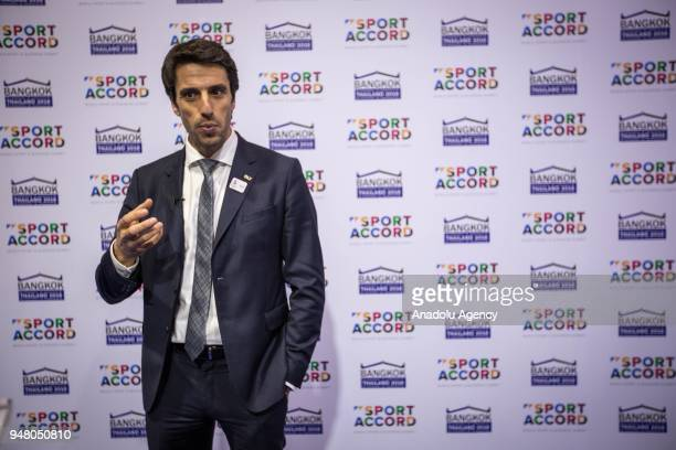 French slalom canoeist and a threetime Olympic champion in C1 Tony Estanguet speaks to the media about the state of preparation of Paris 2024 Olympic...