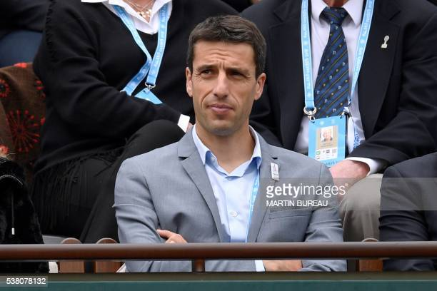 French slalom canoeist Tony Estanguet attends the women's final match between Spain's Garbine Muguruza and the US's Serena Williams at the Roland...