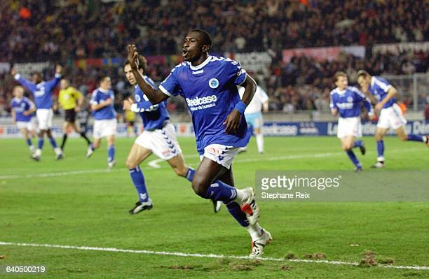 French Soccer Championship League 1 Racing Club de Strasbourg vs Olympique de Marseille Mamadou Niang has just scored Strasbourg's second goal...