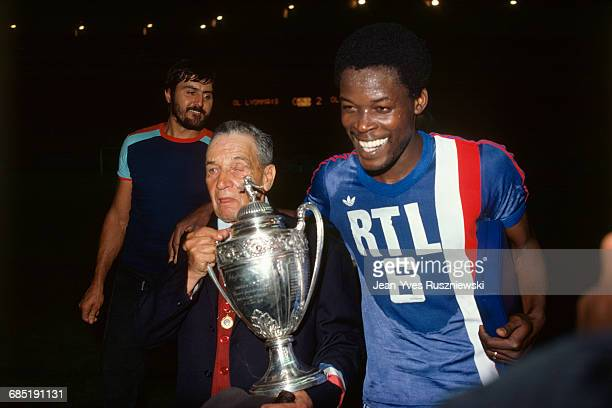 French soccer cup final for the 19751976 season Olympique de Marseille vs Olympique Lyonnais Marius Tresor celebrates OM's victory holding the trophy...