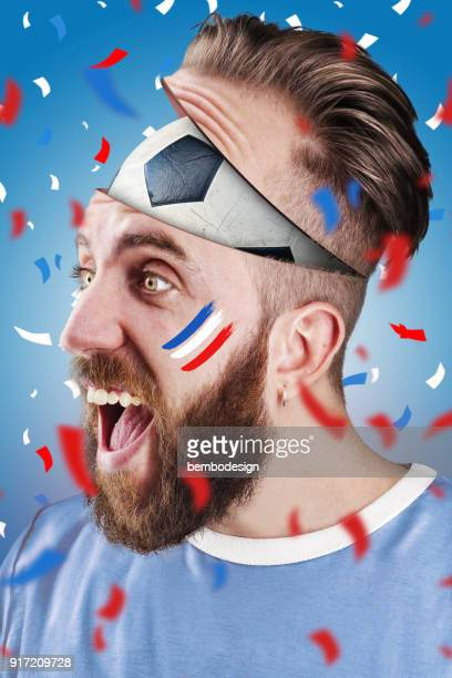 French soccer fan with football inside the head