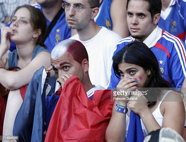 French soccer fans react to France's defeat on July 9 2006 at the ''Parc des Princes'' stadium in Paris France Italy defeated France 21 at the World...