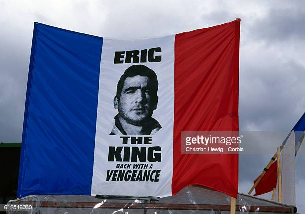 French soccer player Eric Cantona appears on a French flag of Manchester United fans