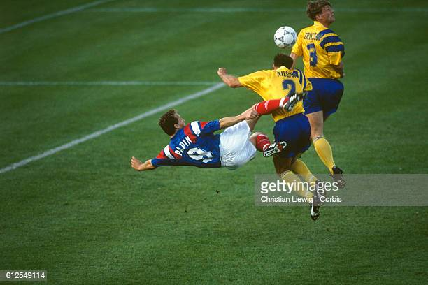 French soccer player JeanPierre Papin in action during a Euro 1992 France vs Sweden | Location Solna Sweden