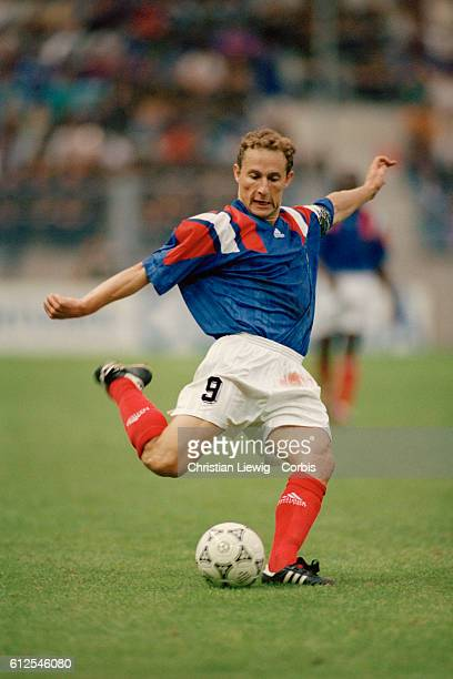French soccer player JeanPierre Papin in action during a friendly match France vs Russia France won 31