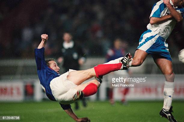 French soccer player JeanPierre Papin in action during a qualifying match for the 1994 FIFA World Cup France vs Israel Israel won 32