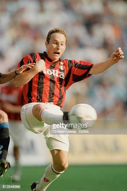 French soccer player JeanPierre Papin in action with AC Milan during a Serie match of the season 19931994