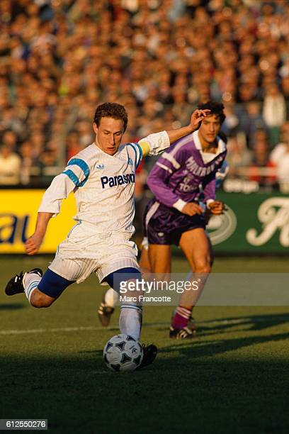 French soccer player JeanPierre Papin playing for Olympique de Marseille