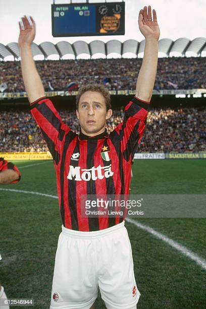 French soccer player JeanPierre Papin salutes the crowd before a Serie A match of the season 19931994 against Inter Milan