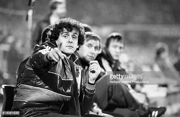 French soccer player Michel Platini sits in a stadium in Rotterdam