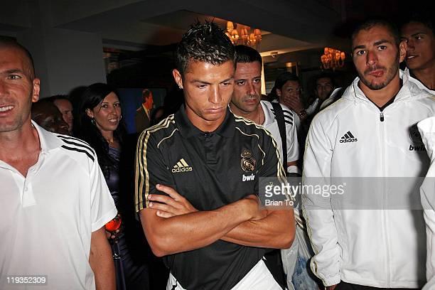 French soccer player Zinedine Zidane Cristiano Ronaldo and Karim Benzema attend Three Time World Club Champions Real Madrid CF Meet Greet Reception...