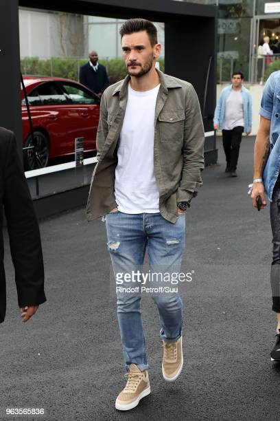 French soccer squad player Hugo Lloris attends the 2018 French Open Day Three at Roland Garros on May 29 2018 in Paris France