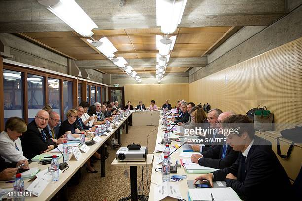 French Social Affairs and Health Minister Marisol Touraine leads a meeting during a social conference with unions and employers at the CESE council's...