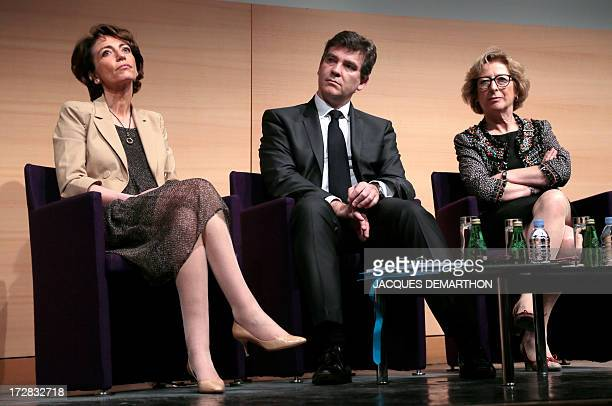 French Social Affairs and Health Minister Marisol Touraine Minister for Industrial Renewal and Food Industry Arnaud Montebourg and Minister of Higher...