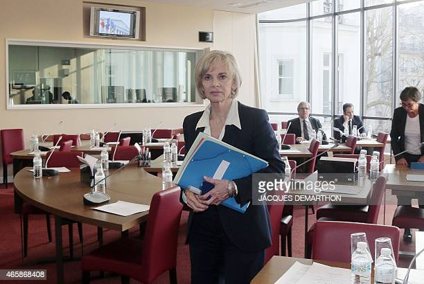 French Socialist member of Parliament and president of the Foreign Affairs Committee of the French National Assembly Elisabeth Guigou walks during a...