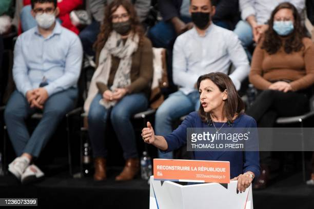 French Socialist Party candidate for the April 2022 presidential election Anne Hidalgo delivers a speech during her formal inauguration as candidate...
